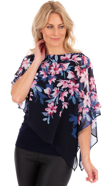 Floral Chiffon Layered Top Midnight - Gallery Image 1