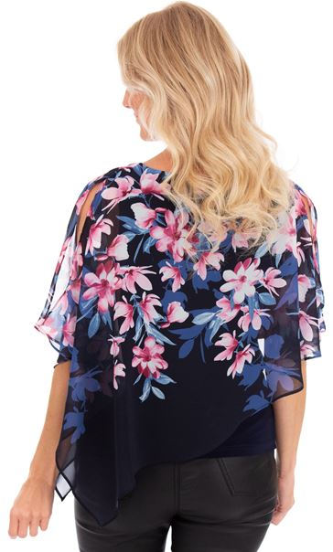 Floral Chiffon Layered Top Midnight - Gallery Image 2