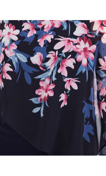 Floral Chiffon Layered Top Midnight - Gallery Image 3