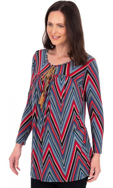 Zig Zag Printed Long Sleeve Tunic Red/Teal