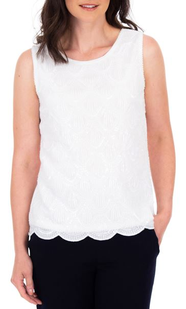 Anna Rose Embellished Sleeveless Top Ivory - Gallery Image 2
