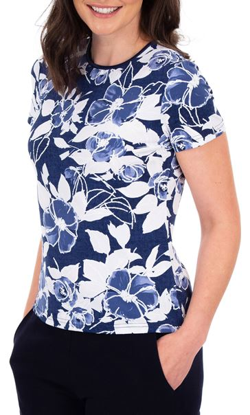 Anna Rose Floral Print Textured Top Blue