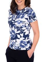 Anna Rose Floral Print Textured Top Blue - Gallery Image 1