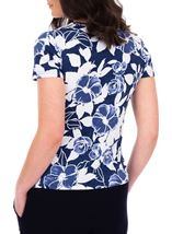 Anna Rose Floral Print Textured Top Blue - Gallery Image 2