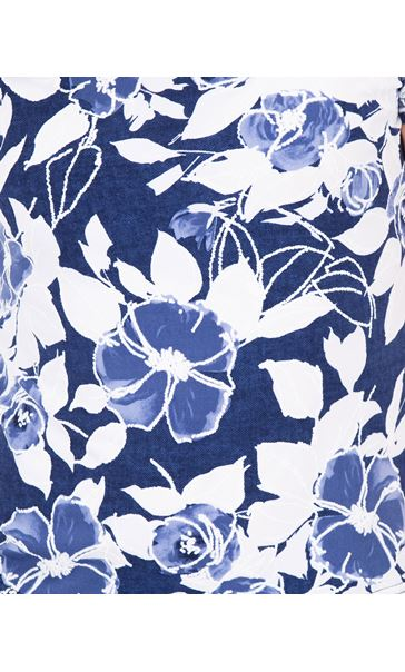 Anna Rose Floral Print Textured Top Blue - Gallery Image 3