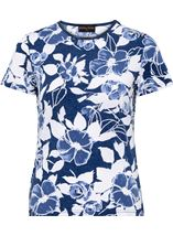 Anna Rose Floral Print Textured Top Blue - Gallery Image 4