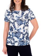 Anna Rose Floral Frill Detail Top Ivory/Blue - Gallery Image 1