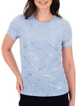 Anna Rose Short Sleeve Textured Top Blue Fog - Gallery Image 1