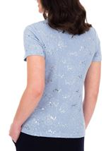 Anna Rose Short Sleeve Textured Top Blue Fog - Gallery Image 2