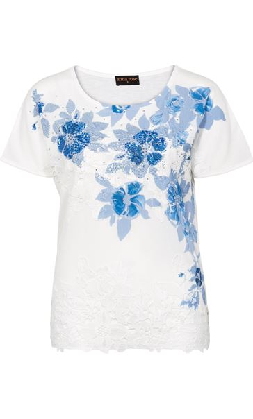 Anna Rose Placement Print Top Ivory/Blue