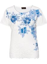 Anna Rose Placement Print Top Ivory/Blue - Gallery Image 1