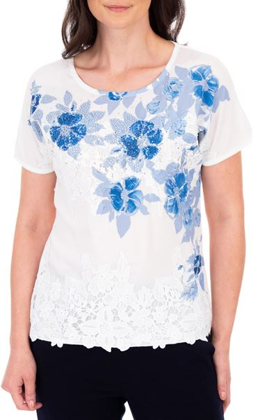 Anna Rose Placement Print Top Ivory/Blue - Gallery Image 2