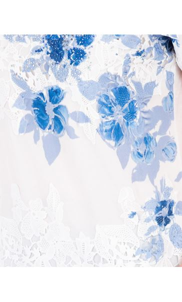 Anna Rose Placement Print Top Ivory/Blue - Gallery Image 4