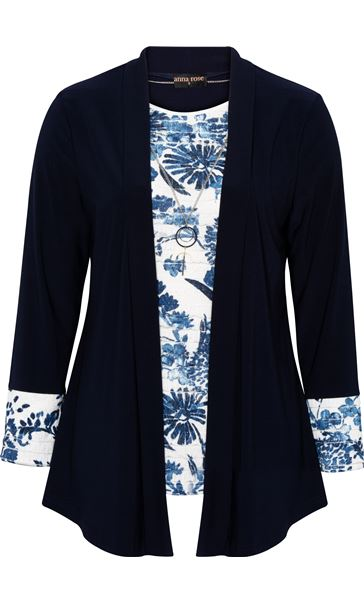 Anna Rose Moc Top And Cover Up With Necklace Ivory/Midnight