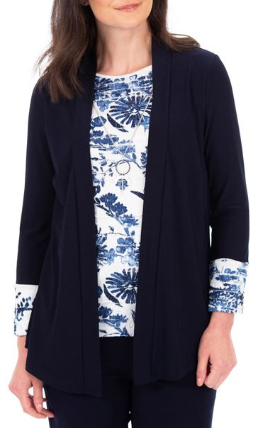 Anna Rose Moc Top And Cover Up With Necklace Ivory/Midnight - Gallery Image 2