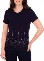 Anna Rose Short Sleeve Embellished Top Midnight - Gallery Image 1