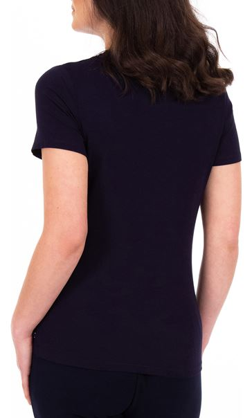 Anna Rose Short Sleeve Embellished Top Midnight - Gallery Image 2