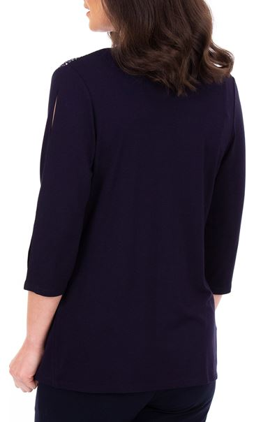 Anna Rose Split Sleeve Embellished Cover Up Midnight - Gallery Image 3