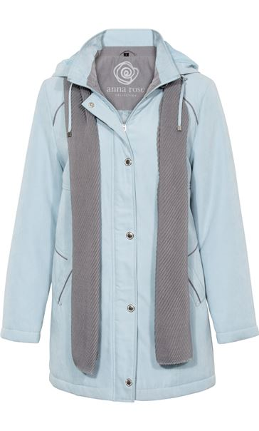 Anna Rose Hooded Coat With Scarf Grey - Gallery Image 3