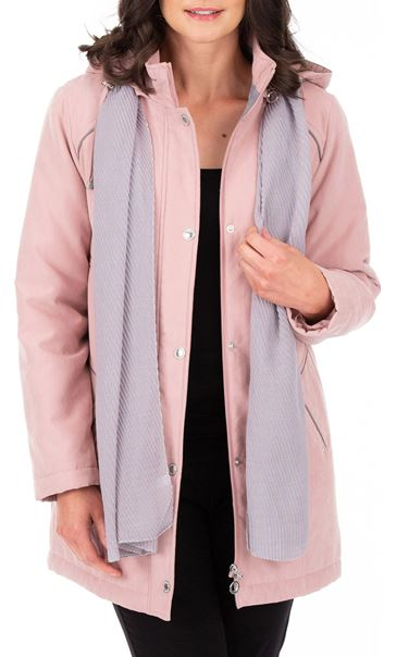 Anna Rose Hooded Coat With Scarf - Rose