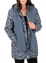 Anna Rose Printed Coat With Scarf Fir Green - Gallery Image 1