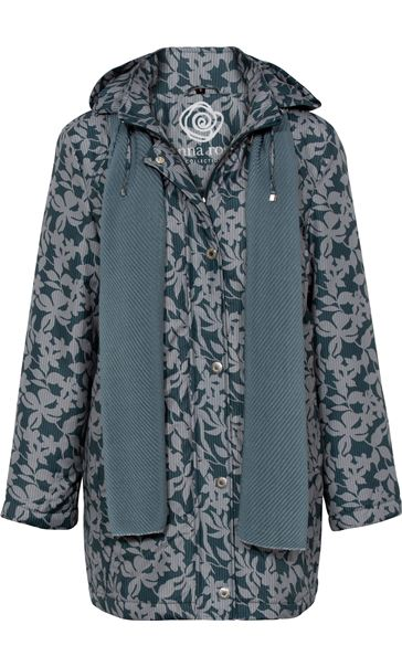Anna Rose Printed Coat With Scarf Fir Green - Gallery Image 4
