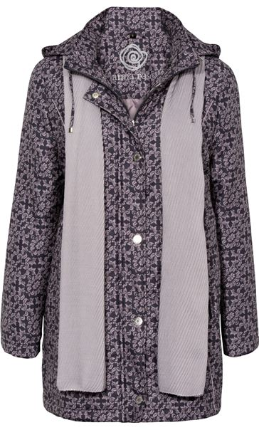 Anna Rose Printed Coat With Scarf Damson
