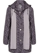 Anna Rose Printed Coat With Scarf Damson - Gallery Image 1