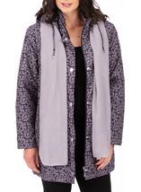 Anna Rose Printed Coat With Scarf Damson - Gallery Image 2