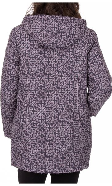Anna Rose Printed Coat With Scarf Damson - Gallery Image 3