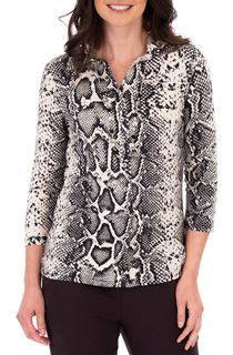 Anna Rose Snake Print Blouse With Necklace