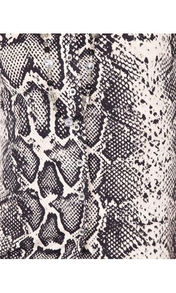 Anna Rose Snake Print Blouse With Necklace Black/Ecru - Gallery Image 4