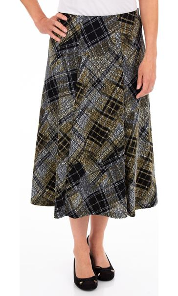 Anna Rose Elasticated Waist Check Skirt Grey