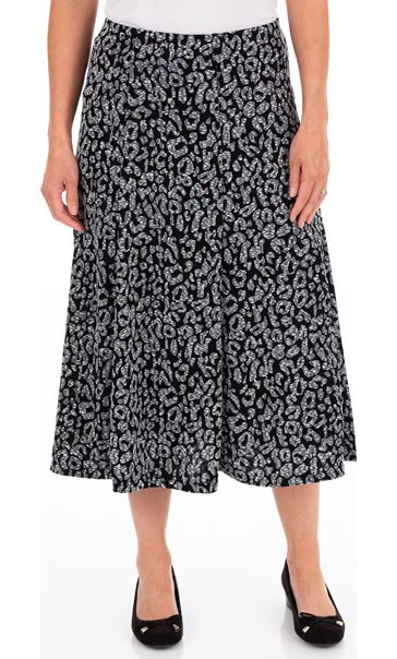 Anna Rose Animal Print Pull On Midi Skirt Grey
