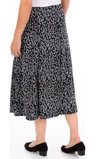 Anna Rose Animal Print Pull On Midi Skirt Grey - Gallery Image 2