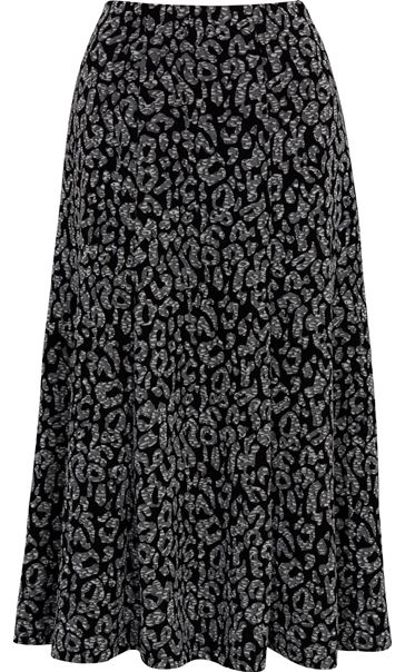 Anna Rose Animal Print Pull On Midi Skirt Grey - Gallery Image 3