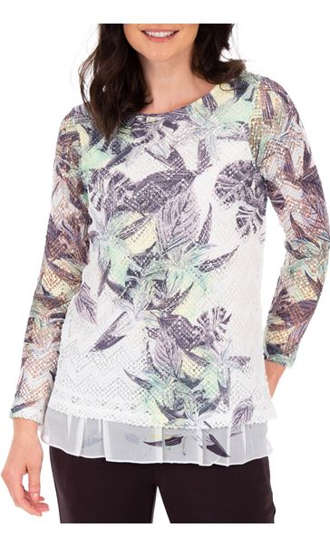 Anna Rose Layered Print Top White/Lime