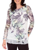 Anna Rose Layered Print Top White/Lime - Gallery Image 1