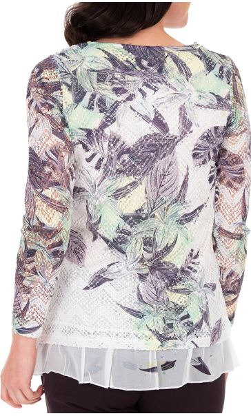 Anna Rose Layered Print Top White/Lime - Gallery Image 2