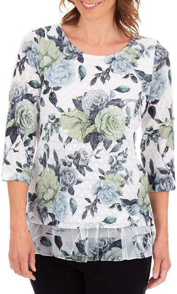 Anna Rose Floral Print Layered Top White/Lime/Multi