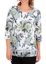 Anna Rose Floral Print Layered Top White/Lime/Multi - Gallery Image 1