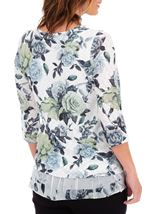 Anna Rose Floral Print Layered Top White/Lime/Multi - Gallery Image 2