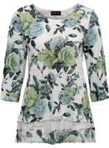 Anna Rose Floral Print Layered Top White/Lime/Multi - Gallery Image 3