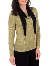 Anna Rose Lightweight Knit Top With Scarf Lime - Gallery Image 1
