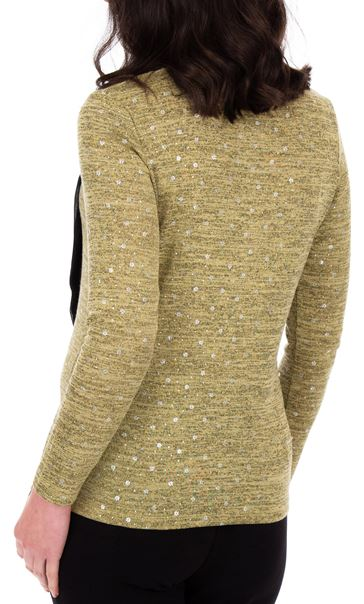 Anna Rose Lightweight Knit Top With Scarf Lime - Gallery Image 2