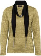 Anna Rose Lightweight Knit Top With Scarf Lime - Gallery Image 3