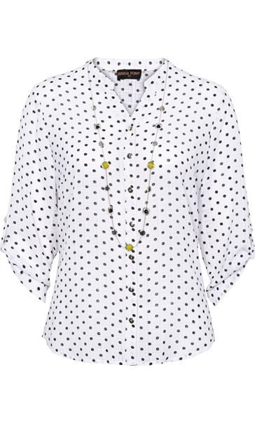 Anna Rose Spot Blouse With Necklace White/Navy