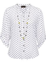 Anna Rose Spot Blouse With Necklace White/Navy - Gallery Image 1