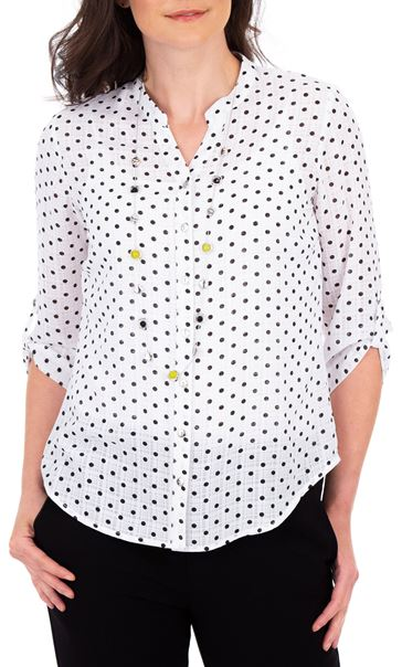 Anna Rose Spot Blouse With Necklace White/Navy - Gallery Image 2
