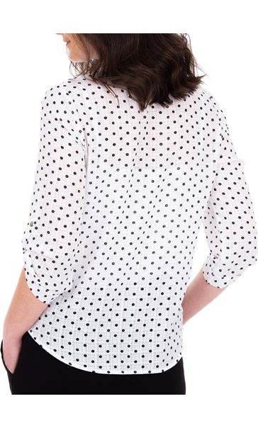 Anna Rose Spot Blouse With Necklace White/Navy - Gallery Image 3